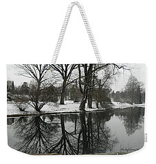 Weekender Tote Bag featuring the photograph Reflection Pond Spring Grove Cemetery by Kathy Barney