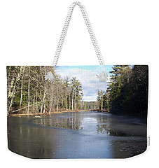 Reflections Caught On Ice At A Pretty Lake In New Hampshire Weekender Tote Bag