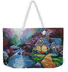 Weekender Tote Bag featuring the painting Reflections Cottage by Jenny Lee