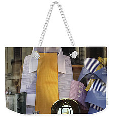 Weekender Tote Bag featuring the photograph Reflections Of A Gentleman's Tailor by Terri Waters