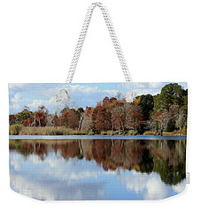 Weekender Tote Bag featuring the photograph Reflections Of Color by Debra Forand