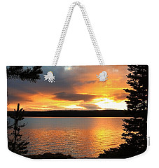 Weekender Tote Bag featuring the photograph Reflections Of Sunset by Athena Mckinzie