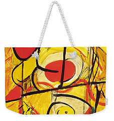 Weekender Tote Bag featuring the painting Relativity 3 by Stephen Lucas