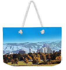 Reno Skyline From Rancho San Rafael Weekender Tote Bag by Bobbee Rickard
