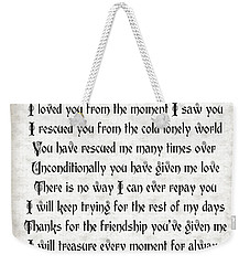 Rescue Love Weekender Tote Bag