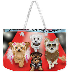 Weekender Tote Bag featuring the painting Rescues Rock The Runway by Catia Lee