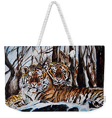 Weekender Tote Bag featuring the painting Resting by Harsh Malik