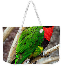 Weekender Tote Bag featuring the photograph Resting Lory by Sennie Pierson