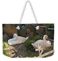 Weekender Tote Bag featuring the photograph Resting Swan Mates by Michele Myers