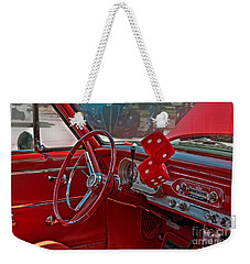 Weekender Tote Bag featuring the photograph Retro Chevy Car Interior Art Prints by Valerie Garner