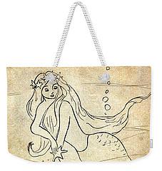Weekender Tote Bag featuring the drawing Retro Mermaid by Rosalie Scanlon