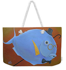 Weekender Tote Bag featuring the painting Rhapsody In Blue by Marina Gnetetsky