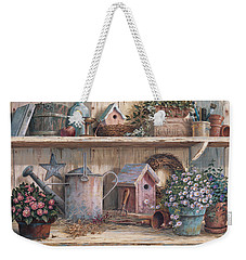 Weekender Tote Bag featuring the painting Rhapsody In Rose by Michael Humphries