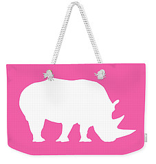 Rhino In Pink And White Weekender Tote Bag