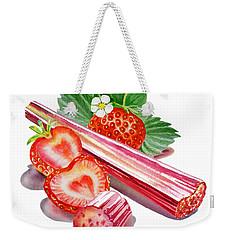 Rhubarb Strawberry Weekender Tote Bag by Irina Sztukowski