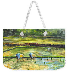 Weekender Tote Bag featuring the painting The Rice Paddy Field by Carol Wisniewski