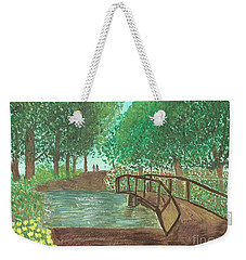 Weekender Tote Bag featuring the painting Riding Through The Woods by Tracey Williams