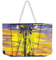 Weekender Tote Bag featuring the painting Rigging In The Sunset by Carol Wisniewski