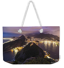 Rio Evening Cityscape Panorama Weekender Tote Bag by Mike Reid