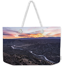 Rio Grande River Sunrise - White Rock New Mexico Weekender Tote Bag by Brian Harig