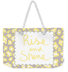 Rise And Shine- Yellow And Grey Weekender Tote Bag