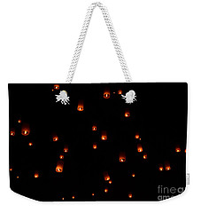 Rise Festival Lanterns 2014 Horizontal Sky Only Number One Weekender Tote Bag by Heather Kirk
