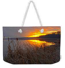 Weekender Tote Bag featuring the photograph Rising Sunlights Up Shore Line Of Cattails by Randall Branham