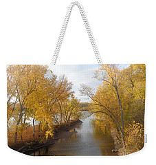 Weekender Tote Bag featuring the photograph River And Gold by Christina Verdgeline