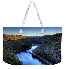 Weekender Tote Bag featuring the photograph River Cut Through The Valley by Jonny D