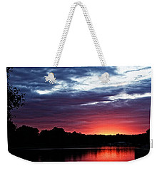 Weekender Tote Bag featuring the photograph River Glow by Dave Files