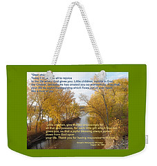 Weekender Tote Bag featuring the photograph River Of Joy by Christina Verdgeline