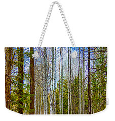 Weekender Tote Bag featuring the painting River Run Trail At Arrowleaf by Omaste Witkowski