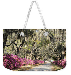 Road With Azaleas And Live Oaks Weekender Tote Bag