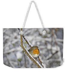 Robin At Winter Weekender Tote Bag