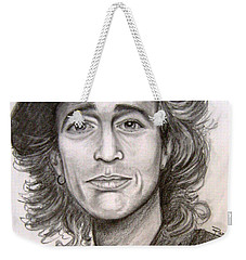 Weekender Tote Bag featuring the painting Robin Gibb by Patrice Torrillo