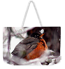 Weekender Tote Bag featuring the photograph Robins' Patience by Lesa Fine