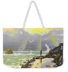 Weekender Tote Bag featuring the painting Rock Fishing At Wombarra  by Pamela  Meredith