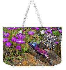 Weekender Tote Bag featuring the digital art Rock Flower Birguana Fly by Arthur Fix