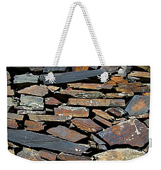 Weekender Tote Bag featuring the photograph Rock Wall Of Slate by Bill Gabbert