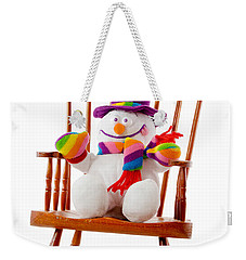 Weekender Tote Bag featuring the photograph Happy Snowman Sitting In A Rocking Chair  by Vizual Studio