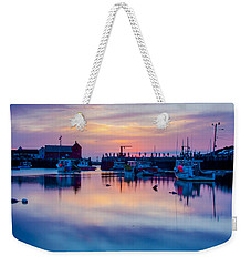 Weekender Tote Bag featuring the photograph Rockport Harbor Sunrise Over Motif #1 by Jeff Folger