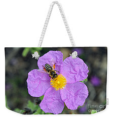 Rockrose Flower With Bee Weekender Tote Bag by George Atsametakis