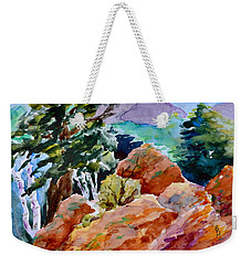 Rocks Near Red Feather Weekender Tote Bag by Beverley Harper Tinsley