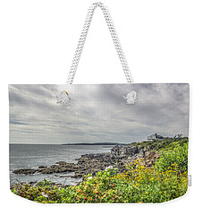 Weekender Tote Bag featuring the photograph Rocky Maine Shoreline by Jane Luxton