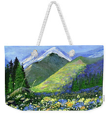 Rocky Mountain Spring Weekender Tote Bag by Jamie Frier