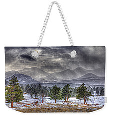 Rocky Mountain Snow Storm Estes Park Colorado Weekender Tote Bag