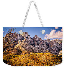 Weekender Tote Bag featuring the photograph Rocky Peaks by Mark Myhaver
