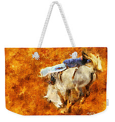 Weekender Tote Bag featuring the painting Eight-second Ride by Greg Collins