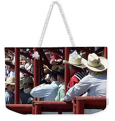 Weekender Tote Bag featuring the photograph Rodeo Time Cowboys by Susan Garren