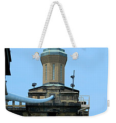 Weekender Tote Bag featuring the photograph Roebling Bridge From Kentucky by Kathy Barney